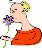 Flower fragrance. Man smelling a flower Royalty Free Stock Photos