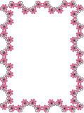 Flower frame. Pink flower frame in white background Stock Photo