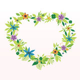 Flower Frame. As a Heart against the Light Background Royalty Free Stock Photography