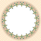 Flower frame 9. Abstract background as round frame in form of geometric five petals flowers Royalty Free Stock Photos
