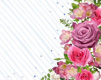 Flower frame backdrop flower pink Rose leaves beautiful spring  Stock Photo