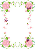 Flower Frame Background Border. Pink Flower Frame Background with butterflies, vines and leaves royalty free illustration