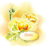 Flower frame background, watercolor Royalty Free Stock Photography
