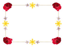 Flower Frame Border. Frame border with roses and wildflowers for an invitation or note card royalty free illustration