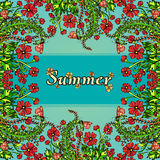 Flower frame, border, card, summer ornament in the style of boho chic, hippie. Abstract red flowers on a blue background Royalty Free Stock Photography