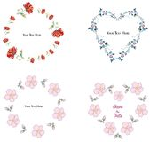 Flower frame collection on the white background royalty free illustration