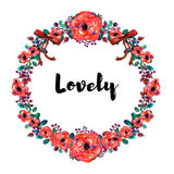 Flower frame. Colorful floral collection with leaves and flowers, drawing watercolor. Stock Photos