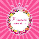 Flower frame with crown for little princess Vector. Royalty Free Stock Image