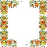 Flower frame. Decorative congratulatory poster, postcard orange flowers Stock Photo