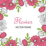 Bright rectangular flower frame. Doodle style. Flower frame. Decorative element for decoration of postcards or posters on the day of birth, wedding, March 8 stock illustration