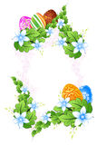 Flower Frame with Easter Eggs Royalty Free Stock Images