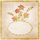 Flower frame. Floral border. Bouquet of flowers grunge Stock Image
