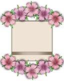 Flower frame. Floral border. Bouquet of pink pastel azalea with. Paper background vector illustration
