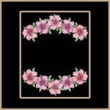 Flower frame. Floral border or card. Bouquet of pink azalea back Royalty Free Stock Photo