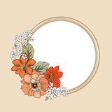 Flower frame. Floral vintage background in victorian style. Stock Photos