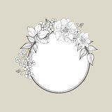 Flower frame. Floral vintage background in victorian style. Stock Images