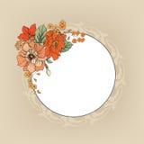 Flower frame. Floral vintage border. Flourish victorian style. Stock Image