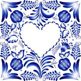 Flower frame in the form of heart. Styling Gzhel. Royalty Free Stock Image
