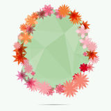 Flower frame on green abstract background Stock Image