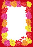 Flower frame with hearts. Computer generated illustration of flower frame Royalty Free Stock Photo