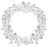 Flower frame oval coloring book vector illustration Stock Image