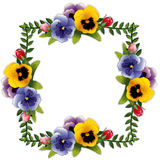 Flower Frame, Pansies and Roses. Victorian flower background with pansies and rosebuds. Copy space for your text or picture. Traditional frame for gift tag, card Stock Photo