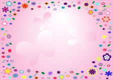 Flower frame on pink background Stock Photo