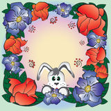 Flower frame with rabbit Stock Image