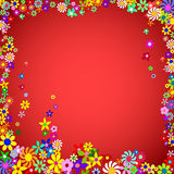 Flower Frame on a Red Background Royalty Free Stock Images