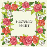 Flower frame of Roses. Excellent gift card. Royalty Free Stock Images