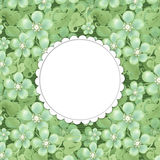 Flower frame with space for text. Bouquet of flowers green. Illustration Stock Photography
