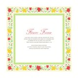 Flower Frame with Square Design. Flower or Floral Frame with Lovely and adorable Design, suitable for Save The Date, Wedding, Ornament, leaflet, brochure, flyer Stock Image