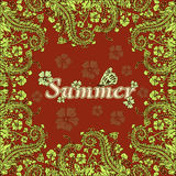 Flower frame, summer, border of flowers, card. Green abstract flowers on a red background. Stock Photography