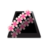 Flower of frame on tablet. On white background Stock Image