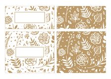Flower frame template for wedding invitation and greeting card. Stock Illustration