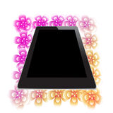 Flower of frame under tablet. On white background Royalty Free Stock Images