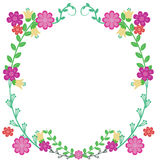 Flower Frame. Vector, flower wreath with colcorful design Stock Illustration