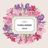 Flower frame. Vintage floral border. Old style card. Flourish vi Royalty Free Stock Image