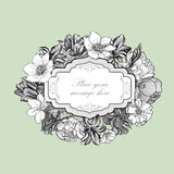 Flower frame. Vintage floral border. Old style card. Flourish vi. Floral border. Flower background. Vintage flourish spring card or cover royalty free illustration