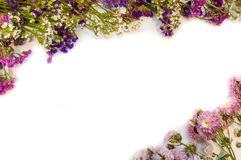 Flower frame on white background. For recipes royalty free stock photo