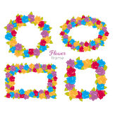 Flower Frame. Wreath Sets of Various Blossoms Royalty Free Stock Photos