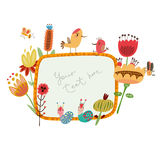 Flower frames cute flowers and birds Stock Photos