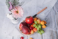 Flower with fresh fruit stock photography