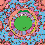 Flower frog happy seamless pattern Stock Photos