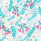 Flower fruit cherry malt palm butterfly seamless pattern Stock Images
