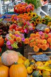 Flower stands at the farmer`s market royalty free stock images