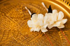 The Flower of Funeral A Thai Culture commemorate. Scent Kalamet fold as flower Stock Image