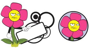 Flower funny cartoon expression copyspace3 Stock Images