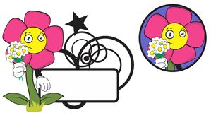 Flower funny cartoon expression copyspace5 Stock Image