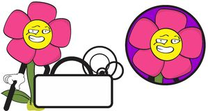 Flower funny cartoon expression copyspace6 Stock Photos